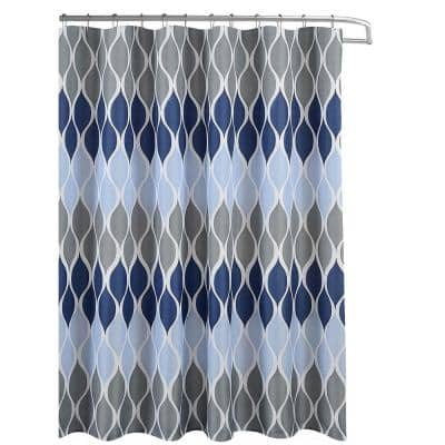 Clarisse Faux Linen Blue/Grey 70 in. x 72 in. Geometric Textured Shower Curtain Set with Beaded Rings
