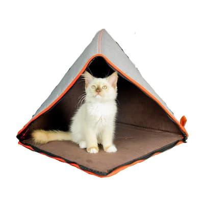 Small Grey/Orange Pet Dog Cat Soft Bed Tent