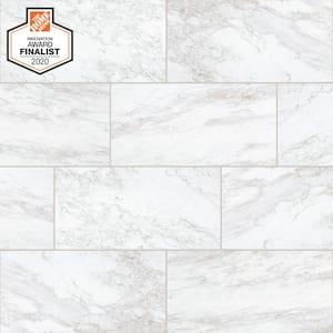QuicTile 12 in. x 24 in. Enchanting Marble Matte Porcelain Locking Floor Tile (9.6 sq. ft. / case)