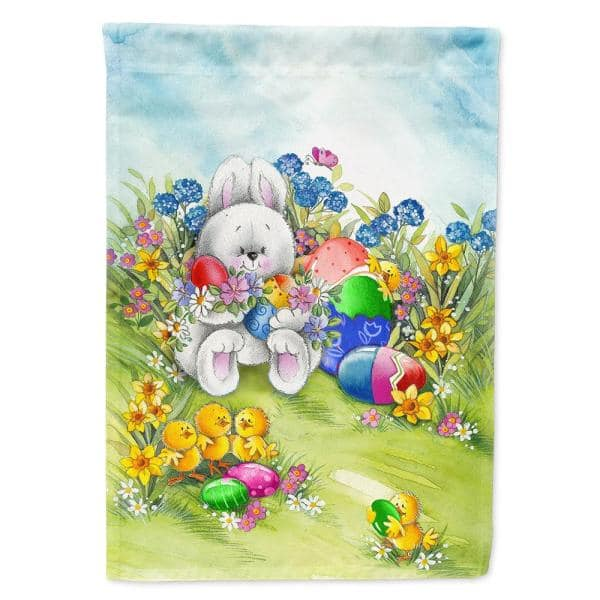 Caroline S Treasures 28 In X 40 In Polyester Easter Bunny And Eggs Flag Canvas House Size 2 Sided Heavyweight Aph5528chf The Home Depot