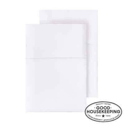 500 Thread Count Egyptian Cotton Sateen King Pillowcase in White (Set of 2)