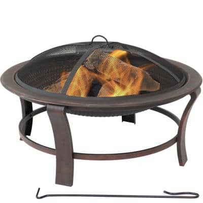 17 in. H. Steel Elevated Outdoor Fire Pit Bowl with Spark Screen
