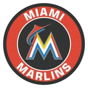 MLB Miami Marlins Orange 2 ft. x 2 ft. Round Area Rug