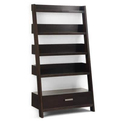 Deanna 66 in. H Dark Chestnut Brown Wood 4-Shelf Ladder Bookcase with Open Back