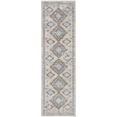 Concerto Ivory/Grey/Blue 2 ft. x 8 ft. Bordered Contemporary Runner Rug