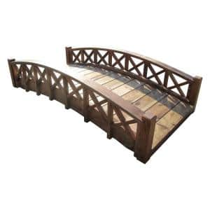 6 ft. Arched Wood Garden Swan Bridge with Cross Halved Lattice Railings - Treated