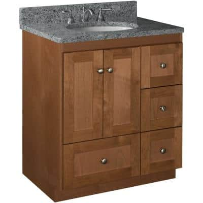 Shaker 30 in. W x 21 in. D x 34.5 in. H Simplicity Vanity with Right Drawers in Medium Alder