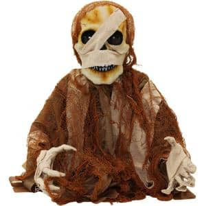 18.5 in. Battery Operated Poseable Mummy with Red LED Eyes Halloween Prop