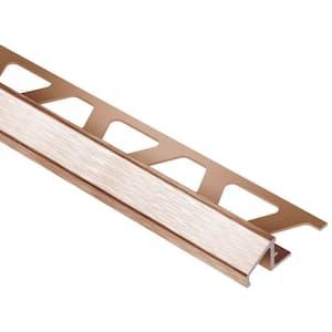 Reno-U Brushed Copper Anodized Aluminum 3/8 in. x 8 ft. 2-1/2 in. Metal Reducer Tile Edging Trim