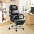 25.4 in. Width Big and Tall Black Faux Leather Ergonomic Chair with Reclining Seat