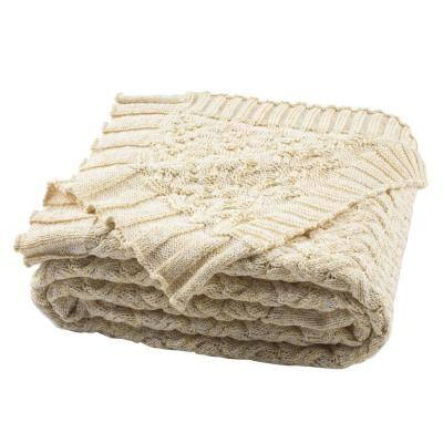 Adara 50 in. x 60 in. Natural/Gold Knit Throw Blanket