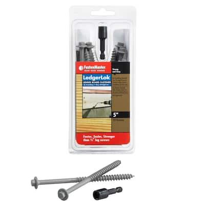 LedgerLok 1/4 in. 5 in. Coarse Steel External Hex Drive, Hex Head Ledger Board Wood Screw Fasteners (12-Pack)