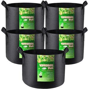 20 Gal. Heavy-Duty Nonwoven Fabric Plant Grow Bags with Handles (5-Pack)