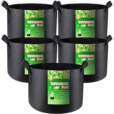 5 Gal. Heavy-Duty Nonwoven Fabric Grow Bags with Handles (5-Pack)