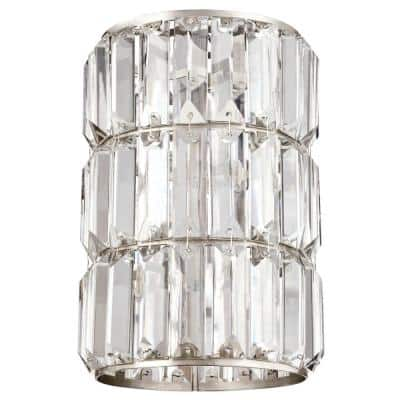 8-7/8 in. Crystal Prism and Brushed Nickel Cylinder Shade with 2-1/4 in. Fitter and 6 in. W