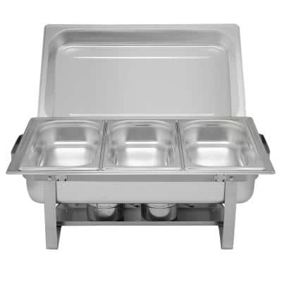 8 qt. Rectangular Stainless Steel Chafing Dish with 3-Half Size Food Pans