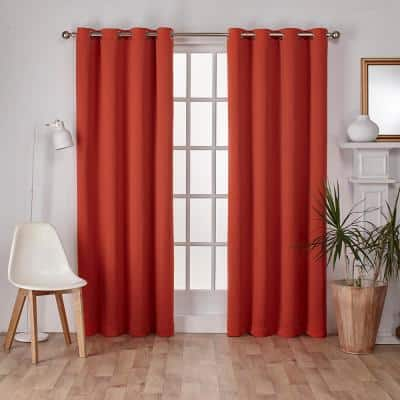 Mecca Orange Thermal Grommet Blackout Curtain - 52 in. W x 84 in. L (Set of 2)