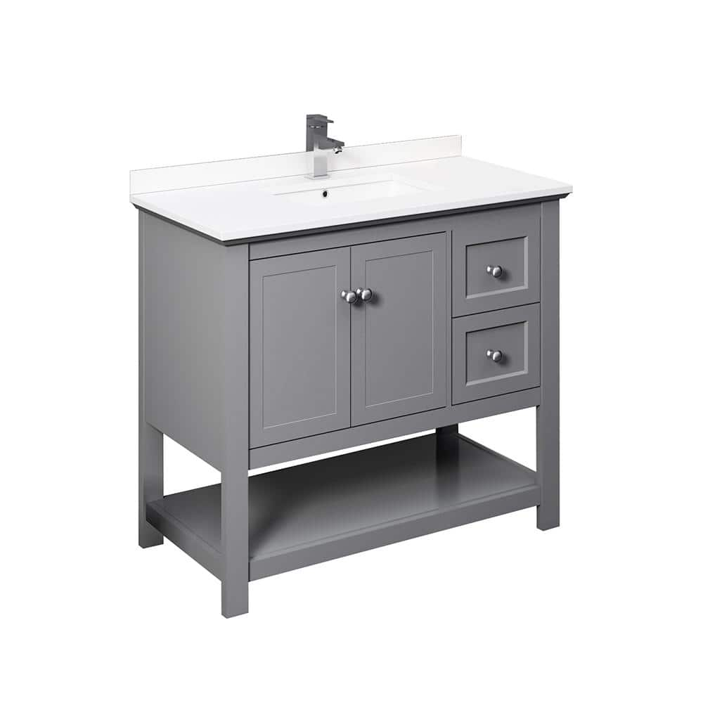 Fresca Manchester 40 In W Bathroom Vanity In Gray With Quartz Stone Vanity Top In White With White Basin Fcb2340gr Cwh U The Home Depot