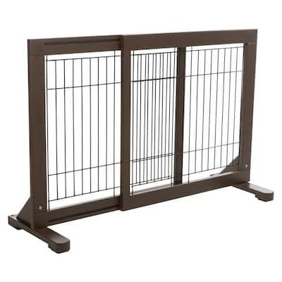 24 in. H Wooden Freestanding Pet Gate in Brown