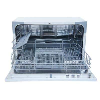 21 in. White Digital Portable Countertop 120-Volt Dishwasher with 6 Cycles and 6 Place Settings Capacity