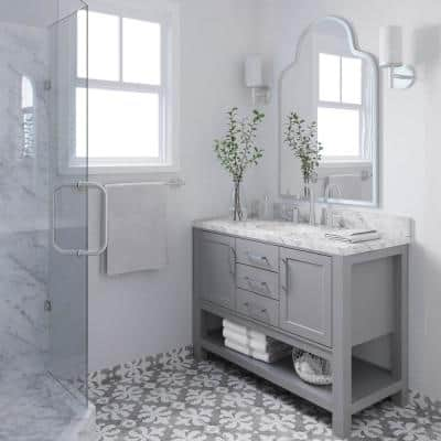 Bayhill 49 in. W x 22 in. D Bath Vanity in Grey with Marble Vanity Top in Carrara White with White Basin