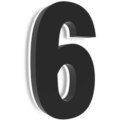 8 in. Upscale LED Modern House Number, Stainless Steel with Black Coating and Backlit House Number(Black 6)