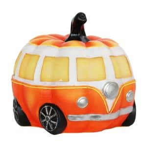 LED Pumpkin Bus Garden Statue