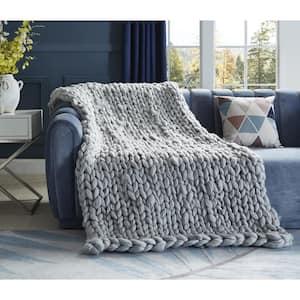 Berenice 50 in. x 70 in. Light Grey Throw Blanket Cozy 100% Polyester