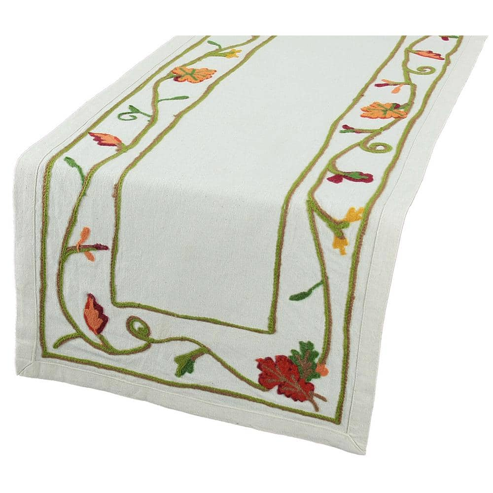 Squirrel Pumpkin Leaf Autumn Embroidery Tablecloth Table runners Doilies Cream
