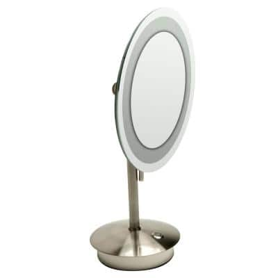 14.25 in. x 9 in. Round Freestanding LED Lighted Single 5X Mirror in Brushed Nickel