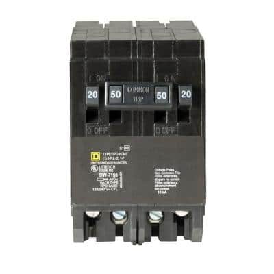 Homeline 2-20 Amp Single-Pole 1-50 Amp 2-Pole Quad Tandem Circuit Breaker