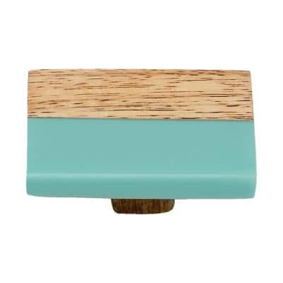 Frosted Straight Timber 2 in. Turquoise Resin Cabinet Knob
