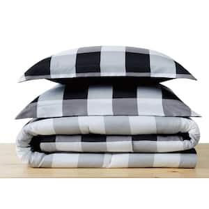 Everyday Buffalo Plaid 3-Piece Black Full/Queen Microfiber Comforter Set
