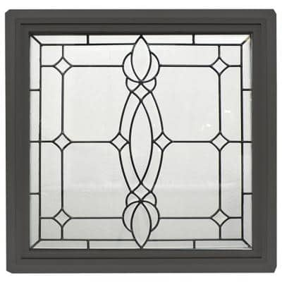 23.5 in. x 23.5 in. Bronze Frame Craftsman Black Caming 1 in. Nail Fin Offset Vinyl Picture Window