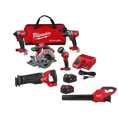 M18 FUEL 18-Volt Lithium-Ion Brushless Cordless Combo Kit (5-Tool) with Brushless Cordless Handheld Blower