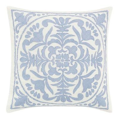 Mila Blue 1-Piece 18X18 Cotton Blend Throw Pillow