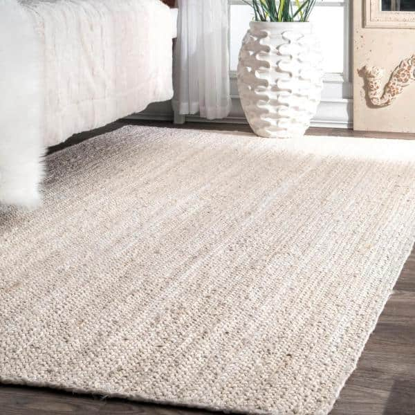 Nuloom Rigo Chunky Loop Jute Off White 4 Ft X 6 Ft Area Rug Tajt03b 406 The Home Depot