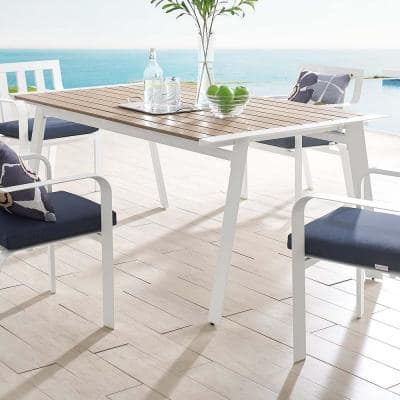 Roanoke 73 in. Aluminum Outdoor Dining Table in White Natural