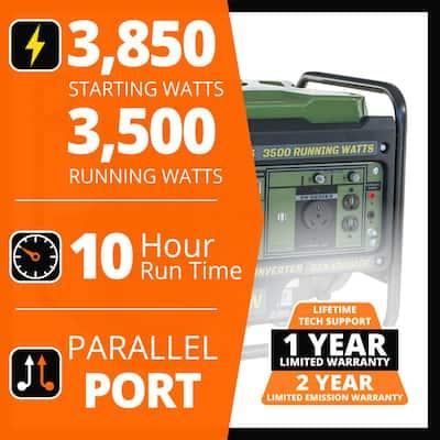 3,850-Watt/3,500-Watt Recoil Start Open Frame Gasoline Powered Portable Inverter Generator with Parallel Connection