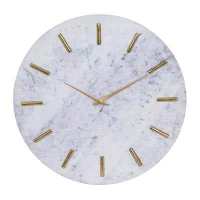 2 in. x 20 in. White Marble Coastal Wall Clock