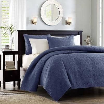 Mansfield 2-Piece Navy Twin/Twin XL Coverlet Set