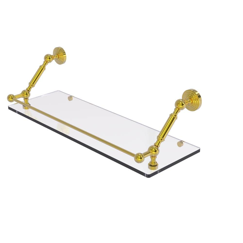 Allied Brass Waverly Place 24 In Floating Glass Shelf With Gallery Rail In Polished Brass Wp 1 24 Gal Pb The Home Depot