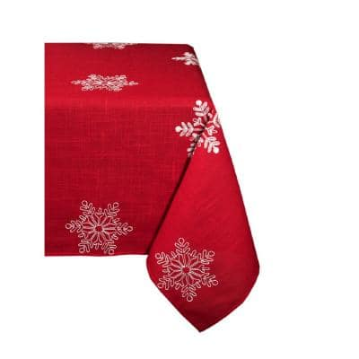 70 in. x 120 in. Snowy Noel Embroidered Snowflake Christmas Tablecloth in Red and White
