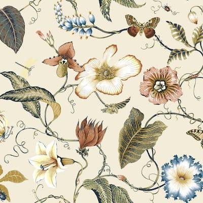 40.5 sq. ft. Alabaster Summer Garden Floral Vinyl Peel and Stick Wallpaper Roll