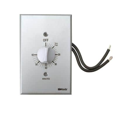 20-Amp 60-Minute In-Wall Spring Wound Countdown Timer Switch, Gray