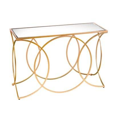 Rachel 43 in. Gold Rectangle Mirrored Console Table