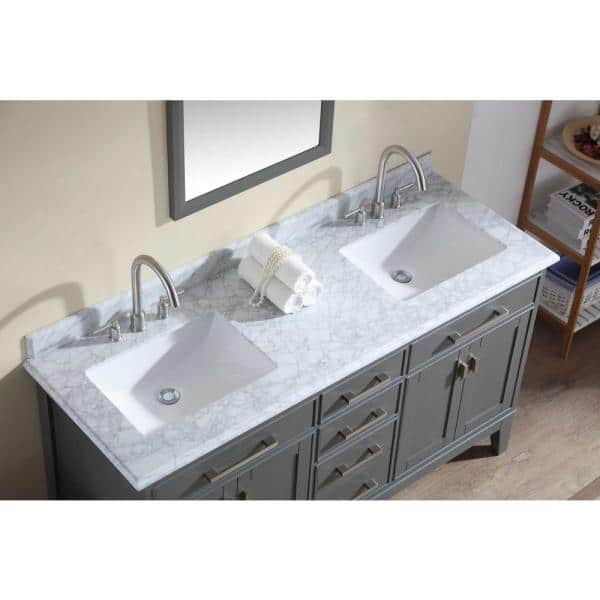 Ari Kitchen And Bath Danny 72 In Double Sink Bath Vanity In Maple Gray With Marble Vanity Top In Carrara White With White Basins Akb Danny 72 Mg The Home Depot