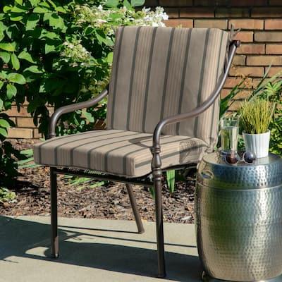 Oak Cliff 22 x 40 Sunbrella Cove Pebble Mid Back Outdoor Dining Chair Cushion