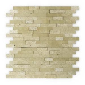 Cairo Beige 11.77 in. x 11.57 in. x 5 mm Stone Self Adhesive Mosaic Wall Tile (11.4 sq. ft. / case)