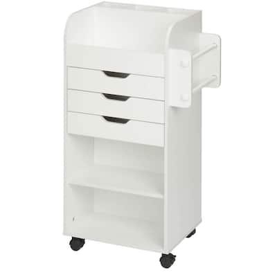 3-Drawer MDF Wheeled Craft Storage Cart in White
